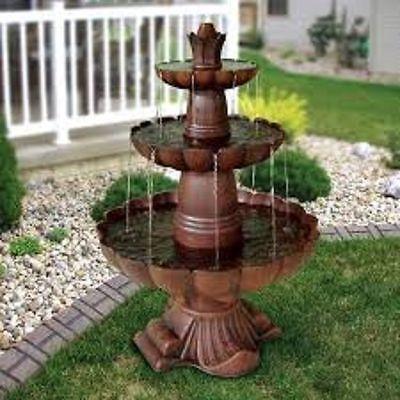 - Outdoor Fountain 3-Tiered Water Pump Flowing Garden Yard Decor Birdbath Pond New