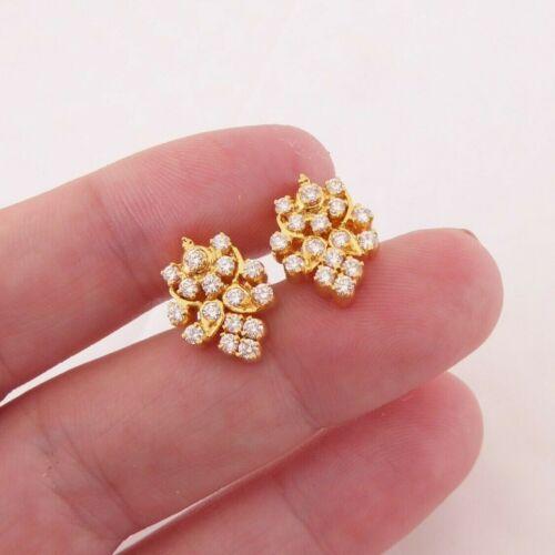18ct gold 1ct diamond cluster earrings, heavy 6.5 grams