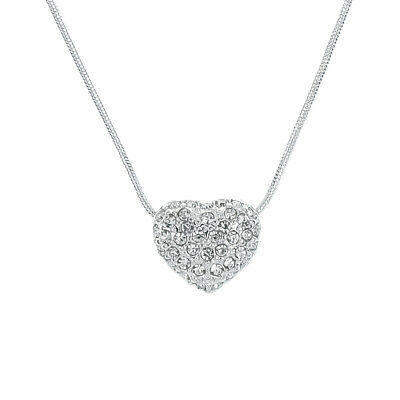 Crystal Pave Heart Pendant Snake Chain Necklace (Gold or Silver Tone)