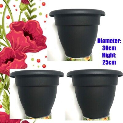 pieces Dark grey Plastic Plant Pot Flower Pot Planter Tall 25 cm diameter 30