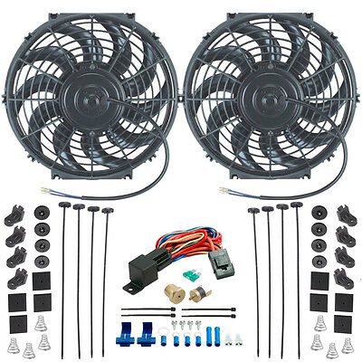 """TWIN 12"""" INCH ELECTRIC ENGINE COOLING FANS HIGH POWER 1/8"""" THERMOSTAT SWITCH KIT"""