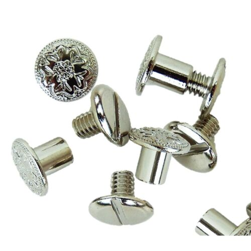 2 Sizes of engraved floral nickle chicago screws  for tack/craft projects