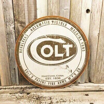 "Colt Automatic Pistol Revolver Logo Round 12"" Metal Tin Sign Vintage Gun Hunting"