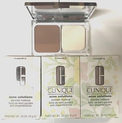 Clinique LOT OF 3 Acne Solutions Powder Makeup Foundation in 14 Vanilla - Boxed