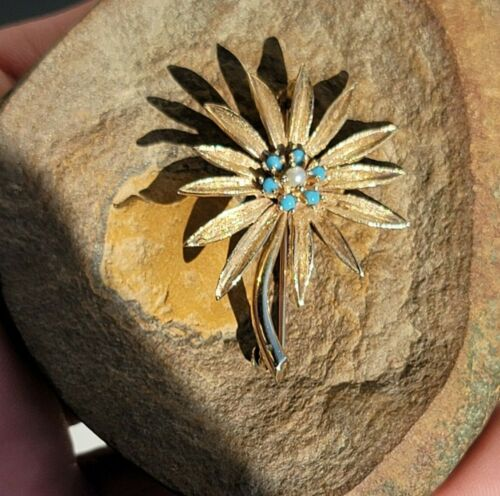 MJ Turquoise Bead Round Pearl Floral Flower 14k Gold Brooch Pin Signed 5.3g