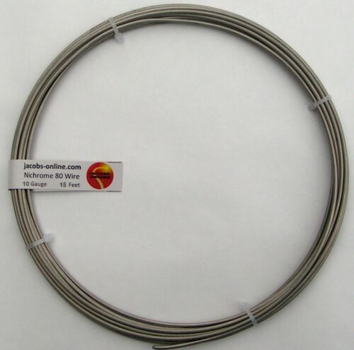 Nichrome 80 resistance wire, 10 AWG (gauge), 15 feet