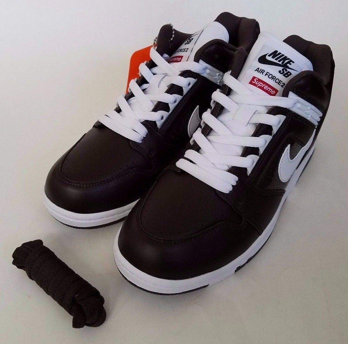 brand new 76981 6f1f1 Details about Supreme Nike SB Air Force 2 AF2 Low Baroque Brown White  AA0871-212 Sz 9