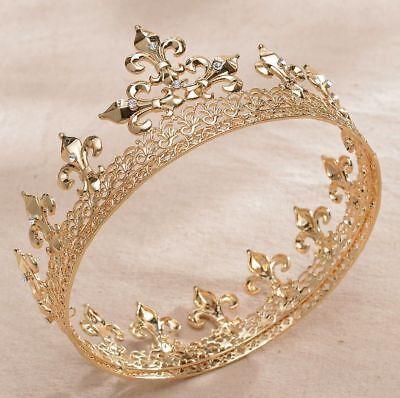 Round Full King Gold Metal Hair Crown Rhinestone Crystal Fleur-De-Lis Men's H919 (Metal King Crown)