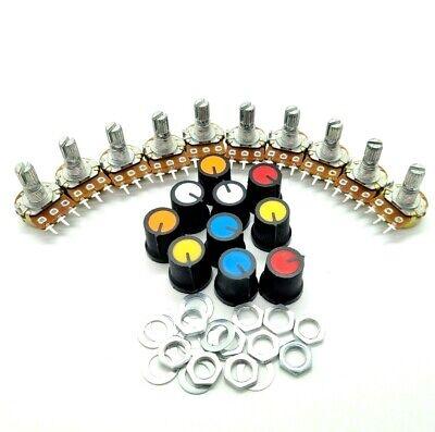 10pcs 10k Ohm Linear Taper Rotary Potentiometer Panel Pot B10k 15mm With Caps