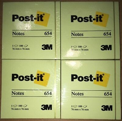 Lot Of 4 Padpost-it Notes 3 X31 Pad Content 100 Sheets Yellow Total 400 Sh.