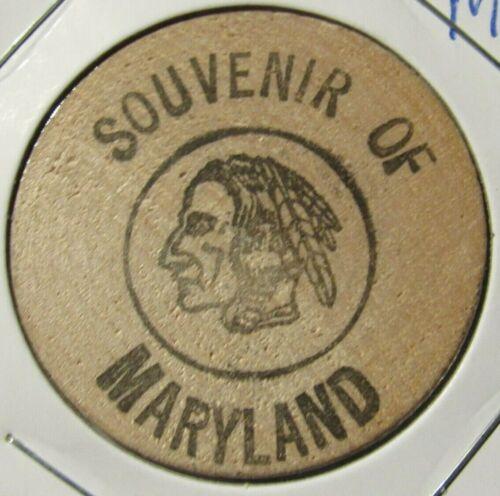 Vintage Souvenir of Maryland Wooden Nickel - Token MD