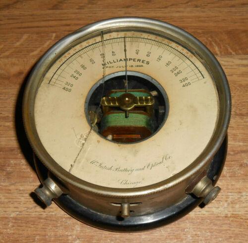 ANTIQUE 1899 McIntosh Electrical Corp Milliamperes Amp Optical Gauge Meter RARE