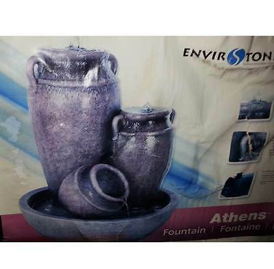 EXTRA LARGE ATHENS ENVIROSTONE RESIN/STONE CLAY POTS GARDEN WATER FOUNTAIN  NEW!