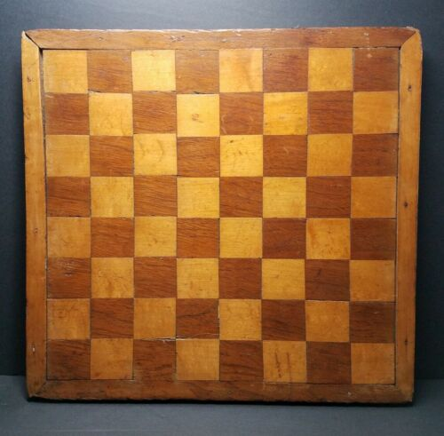Antique 19th Century Primitive Handmade Hardwood Chess Checker Board