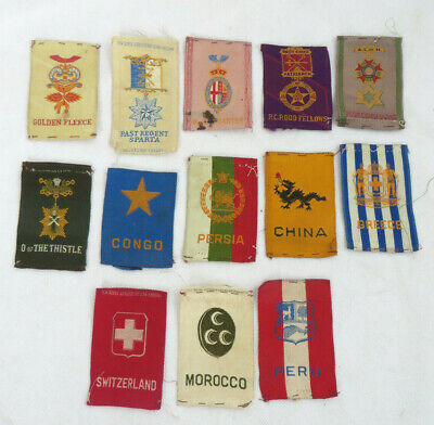 Lot of 13 Vintage Silk Patches Tobacco Egyptienne Luxury Congo Persia China Peru