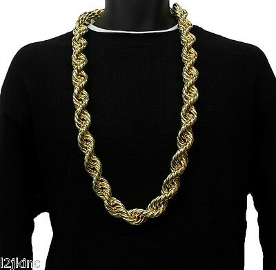- 14K Gold Plated Necklace Rope Chain 36