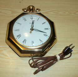 Large United Clock Corp Electric Pocket Watch Wall Clock Model 360 TESTED