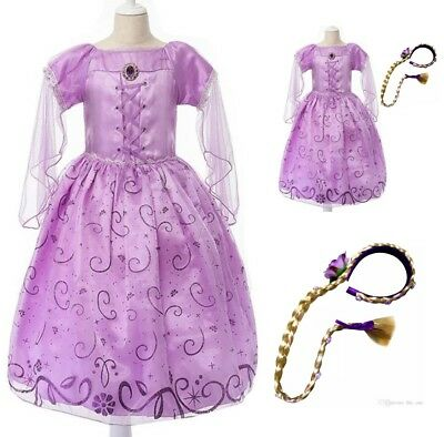 KIDS GIRL PRINCESS RAPUNZEL DRESS COSTUME COSPLAY BRAID BIRTHDAY PARTY HALLOWEEN