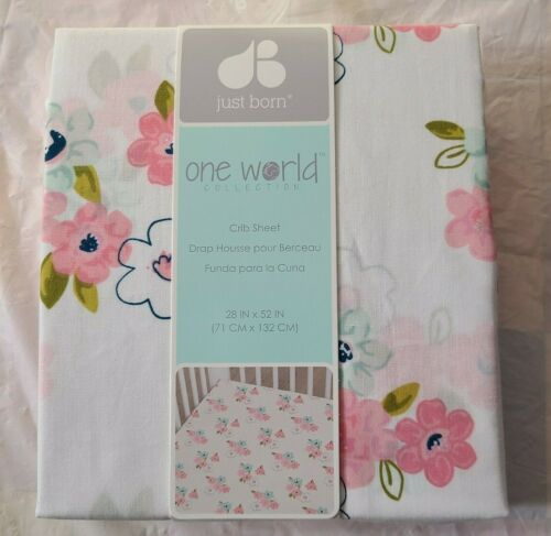 JUST BORN Dream Collection Baby Fitted Crib Sheet Pink With Flowers