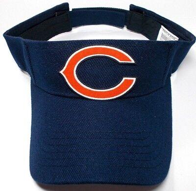 READ LISTING! Chicago Bears Heat Applied FLAT LOGO on Navy Blue visor cap hat - Navy Blue Chicago Bears Jacket