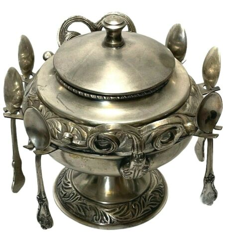 Antique Pedestal Sugar Spooner with 6 Spoons and Lid - Silverplated