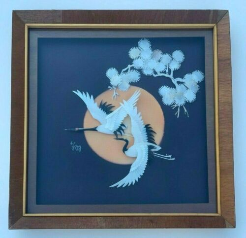 ASIAN WHITE SHELL CARVING 2 EGRETS FLYING BY SUN PAINTING 3D ABALONE SCULPTURE