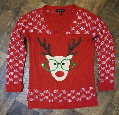DEREK HEART MATERNITY V NECK REINDEER UGLY CHRISTMAS HOLIDAY SWEATER L ()