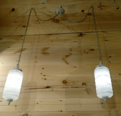Vintage Hanging Double Pendant Light Fixture Clear Frosted Glass Large Shades