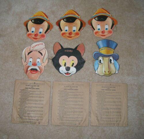 Pinocchio/Gillette Blue Blade Paper Masks (6) + 3 Envelopes