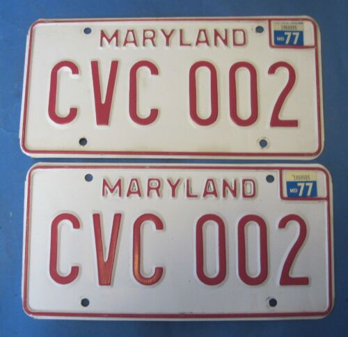 1977 Maryland License Plates Matched Pair excellent originals