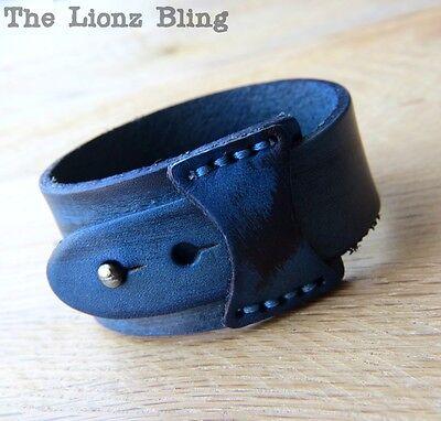 Distressed Leather Wrap Bracelet (Urban Retro Distressed Blue Tapered Genuine Leather Wrap Bracelet )