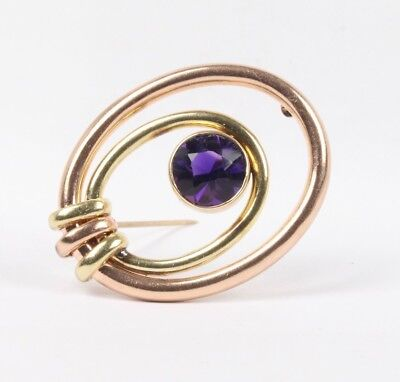 Vintage Amethyst and 14K Two Tone Gold Brooch Clip