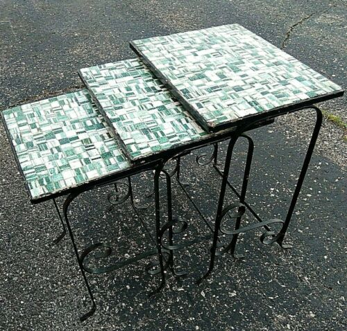 Vtg Mid Century MCM Tile Top Patio Nesting tables Salterini era Italian Mosaic