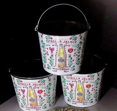 3 Estrella Jalisco Beer Ice Buckets Bottle Bucket combo Lot Mexican Galvanized - Galvanized Buckets Wholesale