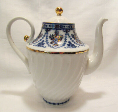 Lomonosov Russia 4 Cup Coffee or Teapot with Lid Gorgeous Blue Gold VGC
