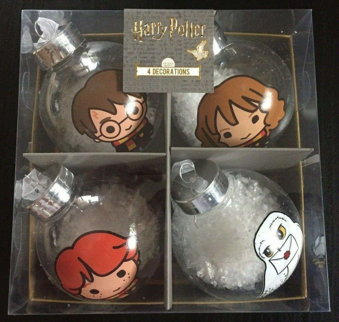 4 Xl Harry Potter Hogwarts Hedwig  Dekorations Kugel Weihnachtskugel Anhänger
