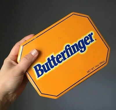 Vintage Nestle Butterfinger Candy Tin Container Orange Empty Box
