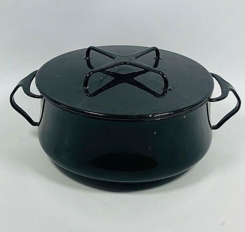 Vintage Dansk Designs France Kobenstyle Enamel 3 Quart Black Dutch Oven