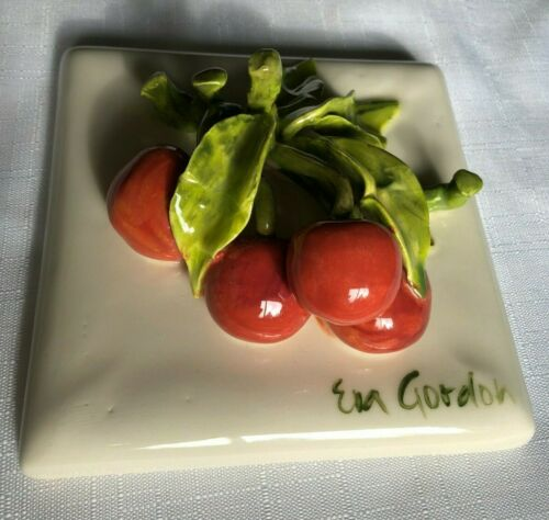 Eva Gordon signed Ceramic 3D Plaque Wall Hanging Tile Bunch of Red Cherries