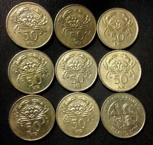 OLD ICELAND COIN LOT - 50 KRONUR - Crab Coin - 9 Coins - FREE SHIPPING