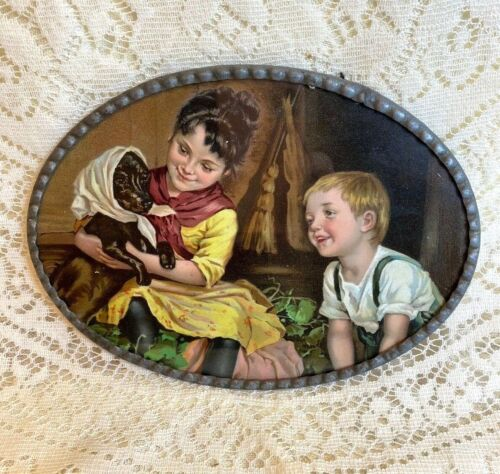OLD FLUE COVER LOT# 112 Beautiful Oval Little Girl & Boy with Dog Dachshund