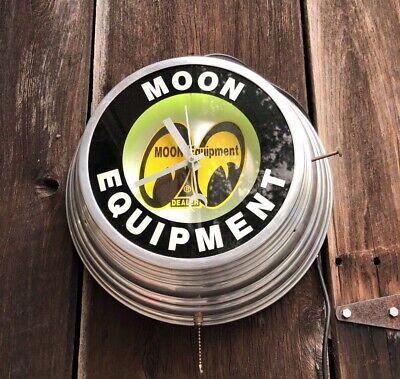 "Vintage MOON EQUIPMENT Dealer Neon Reverse Glass Metal 15"" Clock Gas Oil Sign"