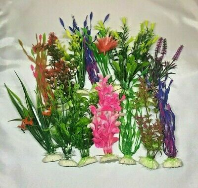 "LOT OF 8 - 8"" ARTIFICIAL PLASTIC DECORATION AQUARIUM PLANT FOR FISH TANK NEW"