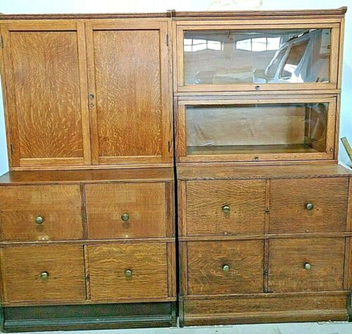 PR Antique Oak Sectional Bookcases / File Cabinets 4 Drawers And More!
