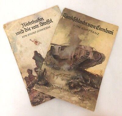 2 VINTAGE WWI GERMAN BOOKLETS TANK BATTLE OF CAMBRAI RED BARON BERTELSMANN 1930S