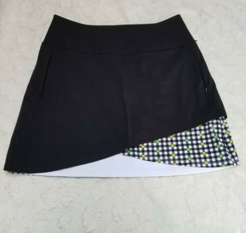 Kinona Italian Fabric Women Athletic Black White Golf Skort Skirt Pockets Medium