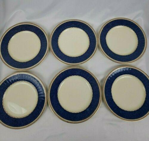 Vintage Grindley England Set Of 6 Melrose Plates White Blue Gold 8 Inches