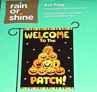 """Small Garden Flag, """"Welcome To The Patch!"""" Pumpkin Pyramid, Free Shipping, NEW!"""