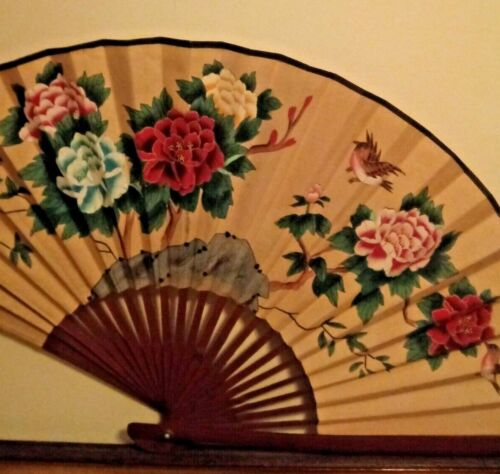 Chinese Oriental Handpainted Fan with Birds and Flowers