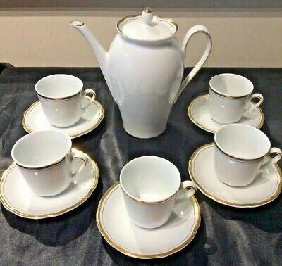 KAHLA VINT COFFEE SERVING SET INCL POT w/ 5 CUP & SAUCER SETS WHITE w/ GOLD TRIM